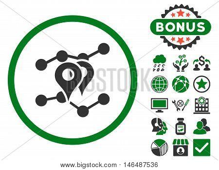 Geo Trends icon with bonus. Vector illustration style is flat iconic bicolor symbols, green and gray colors, white background.