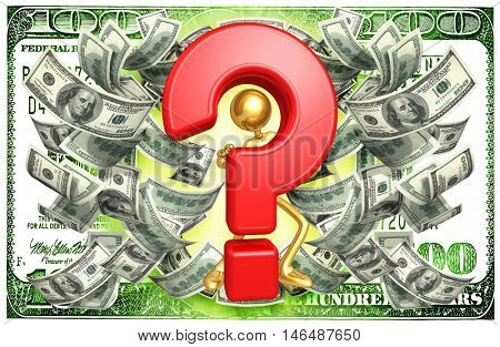 Character With A Question And Money 3D Illustration