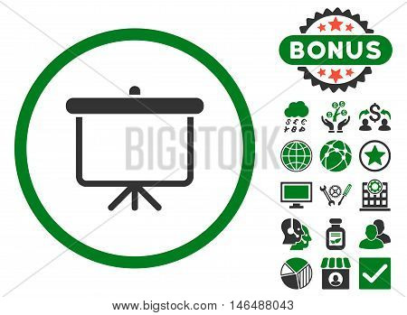 Projection Board icon with bonus. Vector illustration style is flat iconic bicolor symbols, green and gray colors, white background.