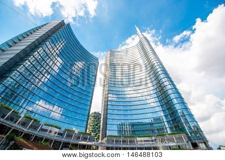 Milan, Italy - June 05, 2016: Modern skyscrapers on Aulenti square in Porta Nuova business district in Milan. It is the main business district in Milan