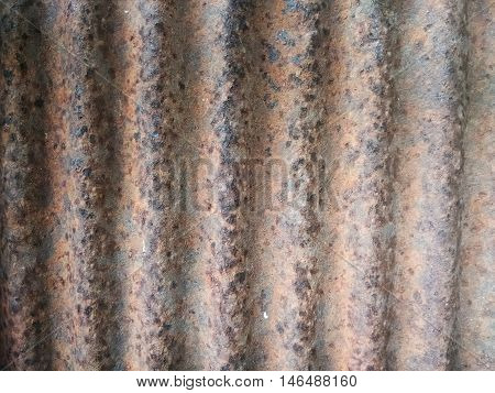 closeup shot of old and rusty corrugated galvanized iron texture