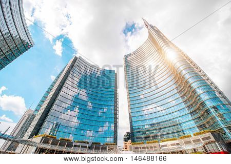 Milan, Italy - June 05, 2016: Modern skyscrapers on Aulenti square in Porta Nuova business district in Milan. It is the main business district in Milan