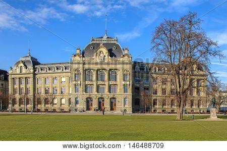 Bern, Switzerland - 29 December, 2015: the University of Bern building. The University of Bern is a university in the city of Bern, founded in 1834, regulated and financed by the Swiss Canton of Bern.