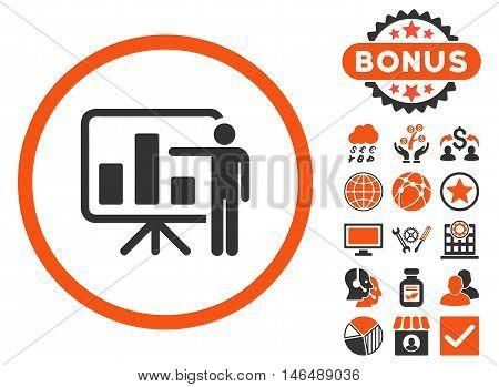 Bar Chart Presentation icon with bonus. Vector illustration style is flat iconic bicolor symbols, orange and gray colors, white background.