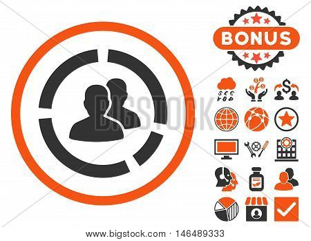 Demography Diagram icon with bonus. Vector illustration style is flat iconic bicolor symbols, orange and gray colors, white background.