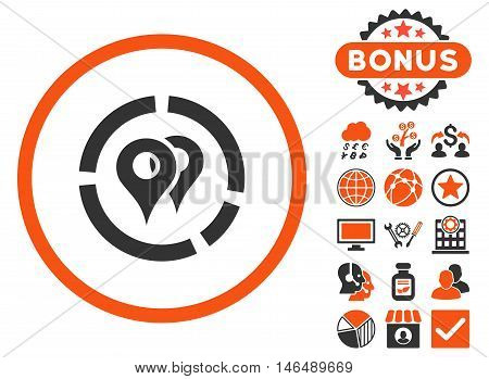 Geo Diagram icon with bonus. Vector illustration style is flat iconic bicolor symbols, orange and gray colors, white background.