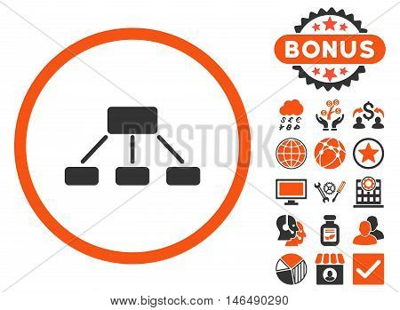 Hierarchy icon with bonus. Vector illustration style is flat iconic bicolor symbols, orange and gray colors, white background.