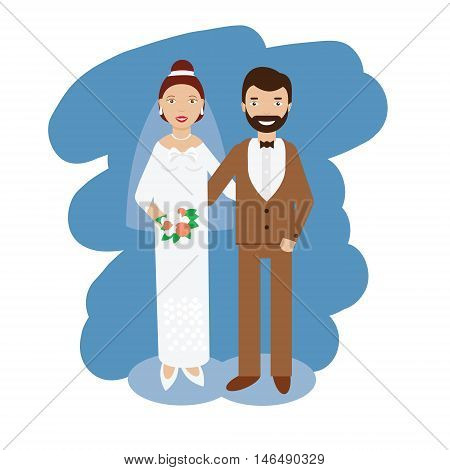 Wedding couple. Bride and groom smiling pair in wedding dress code. Vector illustration