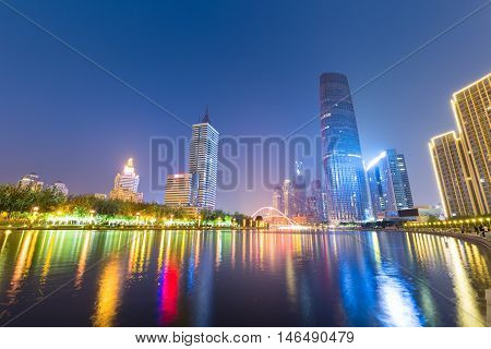 night view of tianjin beautiful haihe river with central business district China