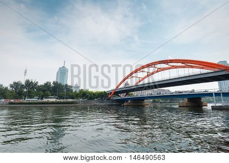 tianjin king kong bridge on the haihe river rainbow type steel structure of modern bridge