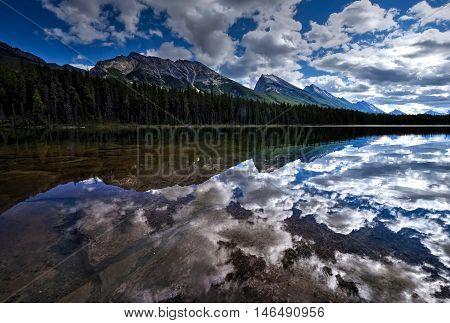 Mountains reflections in calm water. Honeymoon lake in Canadian Rockies. Jasper National Park. Alberta. Canada.