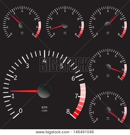 Tachometer icon. Vector illustration isolated on black background.