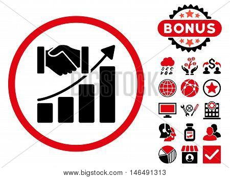 Acquisition Growth icon with bonus. Vector illustration style is flat iconic bicolor symbols, intensive red and black colors, white background.