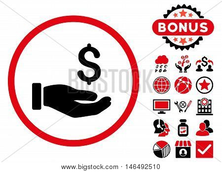 Earnings Hand icon with bonus. Vector illustration style is flat iconic bicolor symbols, intensive red and black colors, white background.