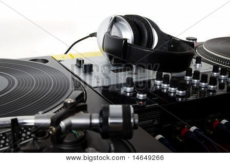 Headphones, Sound Mixer And Turntables