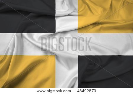 Waving Flag of Levis Quebec Canada, with beautiful satin background