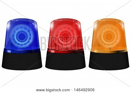 Police blue orange and red siren. Flashing emergency lights. Vector illustration isolated on white background