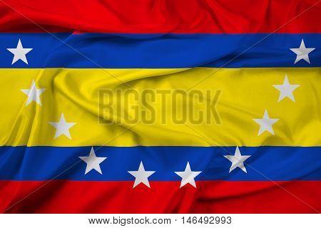 Waving Flag of Loja Province Ecuador, with beautiful satin background