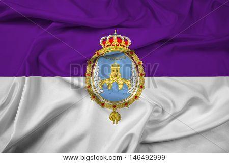 Waving Flag of Loja Spain, with beautiful satin background
