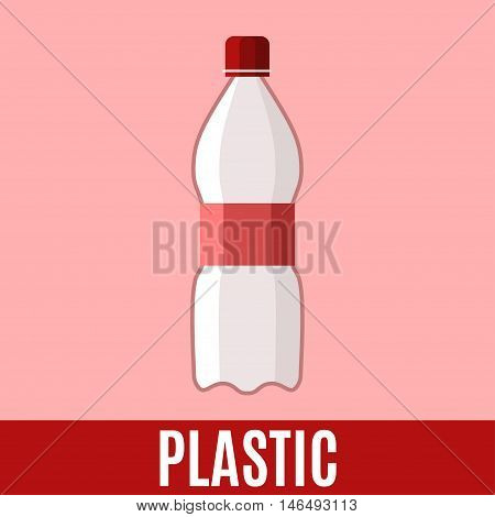 Organic waste flat icon with plastic bottle and text. Vector concept illustration template sorting waste red sticker modern design.