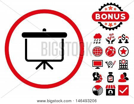 Projection Board icon with bonus. Vector illustration style is flat iconic bicolor symbols, intensive red and black colors, white background.