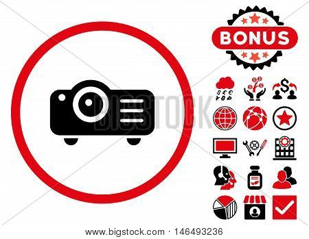 Projector icon with bonus. Vector illustration style is flat iconic bicolor symbols, intensive red and black colors, white background.