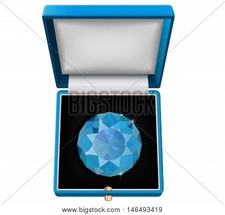Sapphire gem in jewelry gift box. Vector illustration isolated on white background.