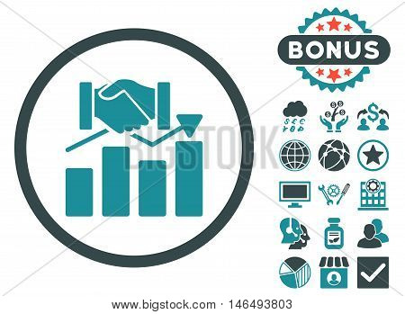 Acquisition Graph icon with bonus. Vector illustration style is flat iconic bicolor symbols, soft blue colors, white background.