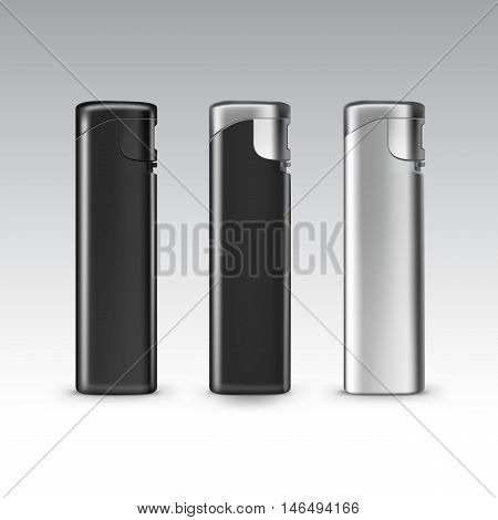 Vector Set of Blank Black Plastic Metal Lighters Close up Isolated on White Background