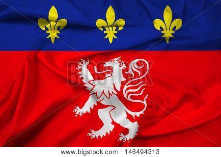Waving Flag of Lyonnais France, with beautiful satin background