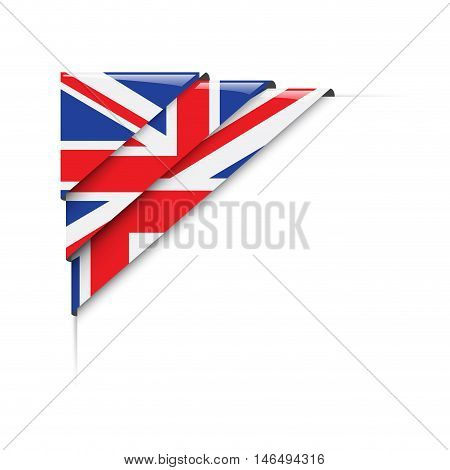 British corner. Vector abstract  label with flag