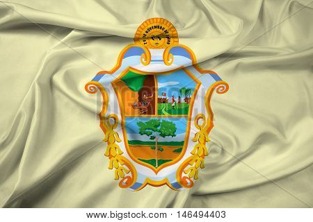 Waving Flag of Manaus Amazonas Brazil, with beautiful satin background