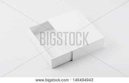 Top view of white empty half open box lying on flat surface. Concept of packaging and delivering goods. 3d rendering mock up
