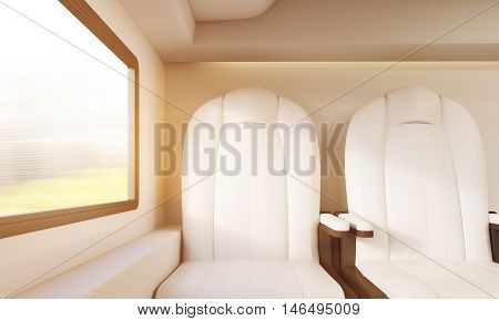 Two Sunlit White Chairs In Compartment