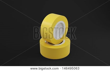 Yellow Insulation Tape Rolls Against Black Background