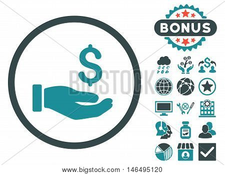 Earnings Hand icon with bonus. Vector illustration style is flat iconic bicolor symbols, soft blue colors, white background.