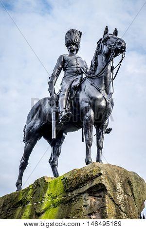 Memorial to the The Royal Scots Greys off Princes Street Edinburgh Scotland