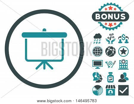 Projection Board icon with bonus. Vector illustration style is flat iconic bicolor symbols, soft blue colors, white background.