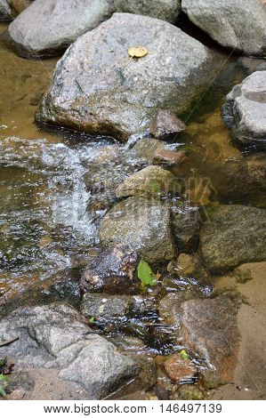 brook in chan ta then waterfall at Bang Phra, Sriracha, Chonburi, Thailand.