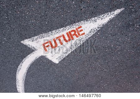 Directional White Painted Arrow With Word Future Over Road Surface
