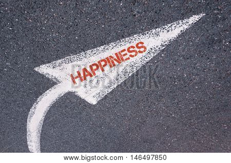 Directional White Painted Arrow With Word Happiness Over Road Surface