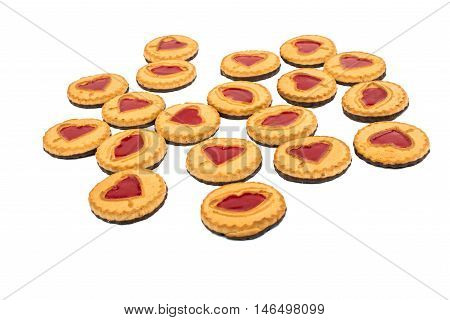 Cookies with jelly marmalade on white background