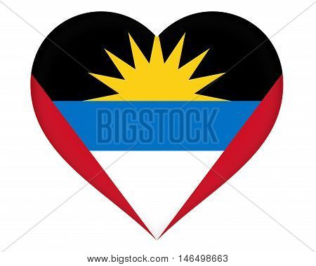 Illustration of the flag of Antigua and Barbuda shaped like a heart