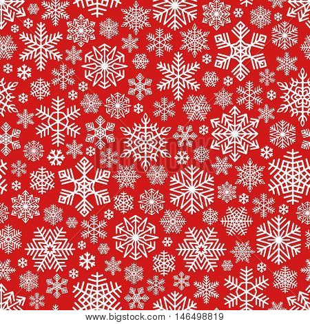 Snowflakes Pattern Seamless on Red Background. White color falling snow. Intricate decorative design element for Christmas card, gift paper, Happy New Year greeting. Unusual vector ornament.