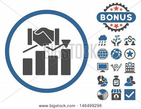 Acquisition Graph icon with bonus. Vector illustration style is flat iconic bicolor symbols, cobalt and gray colors, white background.