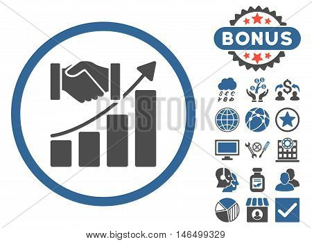 Acquisition Growth icon with bonus. Vector illustration style is flat iconic bicolor symbols, cobalt and gray colors, white background.