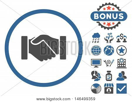 Acquisition Handshake icon with bonus. Vector illustration style is flat iconic bicolor symbols, cobalt and gray colors, white background.