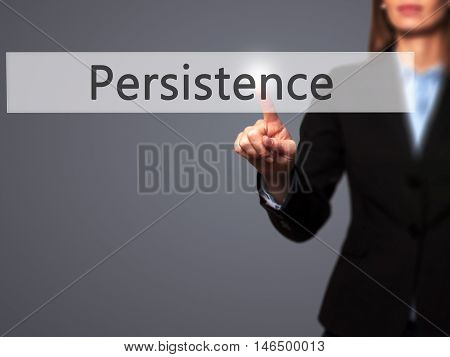 Persistence - Businesswoman Pressing Modern  Buttons On A Virtual Screen