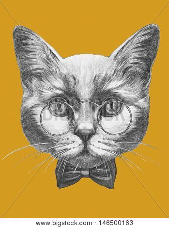 Original drawing of Cat with glasses and bow tie. Isolated on colored background
