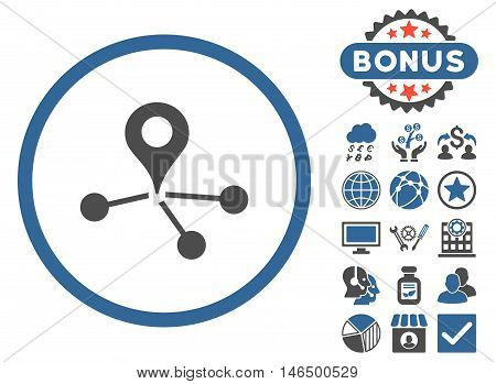 Geo Network icon with bonus. Vector illustration style is flat iconic bicolor symbols, cobalt and gray colors, white background.